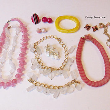 Vintage Thermoset, Lucite, Moonglow Plastic Costume Jewelry,  Destash Lot / Necklaces, Earrings, Bracelet, Ring