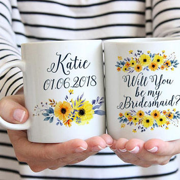 "Will You be my Bridesmaid - Bridesmaid Gift - Bridesmaid Proposal Bridesmaid Mug Watercolor Floral Mug ""Country Bouquet Garland"" Wedding Mug"