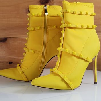 Billie Yellow Pointy Toe High Heel Ankle Boot