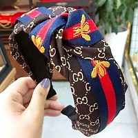 GUCCI Fashion New More Letter Print Embroidery Bee Stripe  Tie Headband Women Coffee