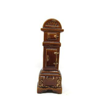 Ezra Brooks 1970 Grandfather Clock Decanter, Heritage China Liquor Bottle Shiny Brown Glaze 24 Karat Gold Trim