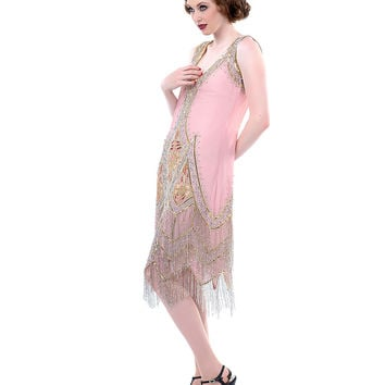 Dusty Pink Embroidered Reproduction 1920's Flapper Dress - Unique Vintage - Prom dresses, retro dresses, retro swimsuits.