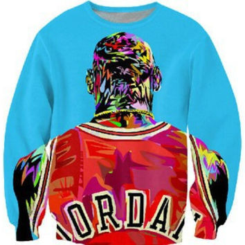 Jordan All Over Print Michael Jordan's Back Chicago Bulls Jersey Rainbow Air Jordan 23 Sky Blue & Red Crew Neck Sweatshirt