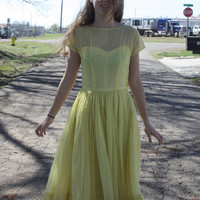 Vintage 1950s / 1960s Beautiful Yellow Retro Party Dress Prom Day Spring Summer Fit and Flare Sheer Illusion Sleeve Polka Dots Size Small