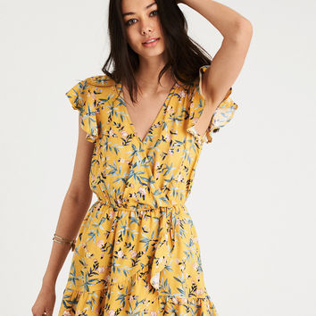 AE RUFFLE SLEEVE WRAP ROMPER, Yellow