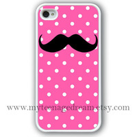 iPhone 4 Case, white iphone 4s case, hot pink dot iphone 4 case, mustache iphone 4 case, iPhone 4 Hard Case