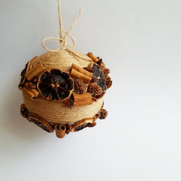 Fragrant christmas tree ornament cinnamon, anise stars, dried lemon, casuarina cones, linen cord christmas decoration natural rustic decor