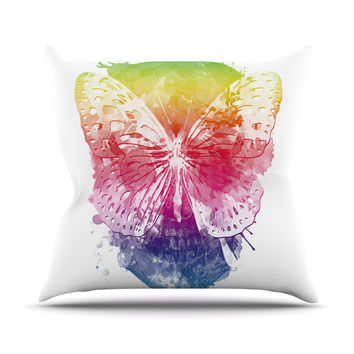 "Frederic Levy-Hadida ""Butterfly Skull"" Rainbow Throw Pillow"
