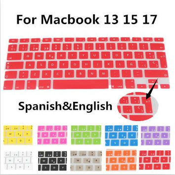 Hot Spanish layout Silicone UK/EU Keyboard Protector Cover Stickers skin For Macbook White Air 13 Pro 13 15 17
