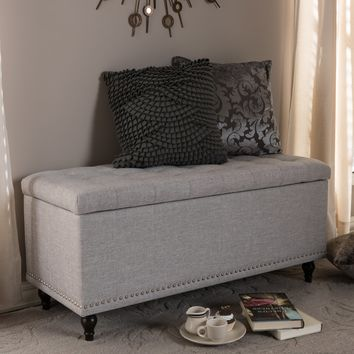 Baxton Studio Kaylee Modern Classic Grayish Beige Fabric Upholstered Button-Tufting Storage Ottoman Bench Set of 1