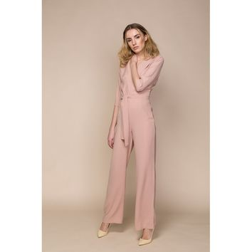 Nude Trench Jumpsuit with Plunging Neckline