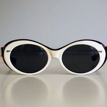 1960s American Optical Sunglasses Beware True Colors Eyeglasses Vintage Glasses Retro Mod Eyeware Mid Century Modern White Fashion Accessory