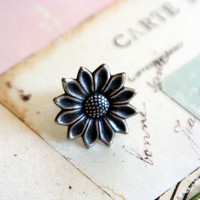 sunflower ring silver ox by babyjewlz on Etsy