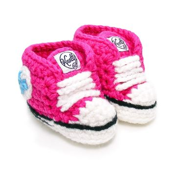 Crochet Baby Booty Hot Pink Slippers Sneakers Chuck Taylors