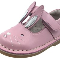 Livie & Luca Girl's Molly Bunny Ear Soft Pink Shimmer Smooth Leather Mary Jane Flat Shoes