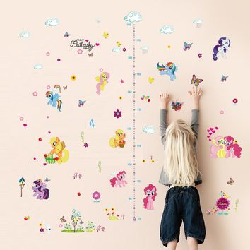 popular cartoon My Little Pony height measure home decal wall sticker kids room baby growth chart butterfly beautiful mural