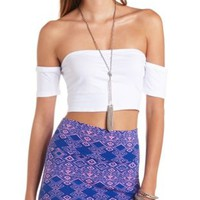 Fitted Off-the-Shoulder Crop Top by Charlotte Russe