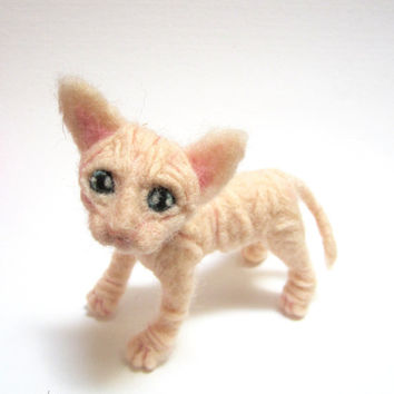 Sphynx kitten, needle felted, cat sculpture, wrinkled cat, weird animal, collectible curio, pink kitty, felt kitten, ugly cute