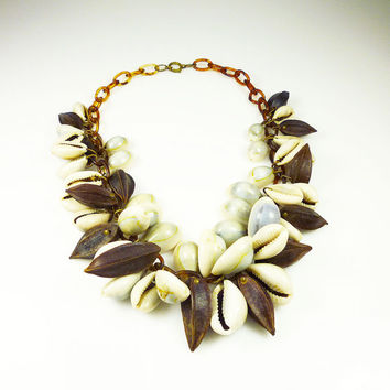Vintage Necklace Cowrie Shell Wood Nut Celluloid Statement Jewelry
