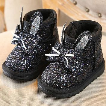 Silver Round Toe Sequin Fashion Ankle Boots