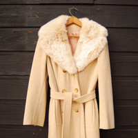 1960's Wool Trench Coat, Cream Rabbit Fur Coat, Vintage 60's Mod Jacket, Long Wool Coat, Double Breasted Coat, Warm Winter Coat, Small Med