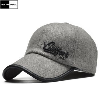 Trendy Winter Jacket [NORTHWOOD] High Quality Winter Baseball Cap Men Gorras Snapback Hat With Earflaps Wool Casquette Homme Winter Trucker Cap AT_92_12
