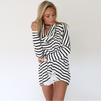Stripe High Neck Loose Long-Sleeve Shirt