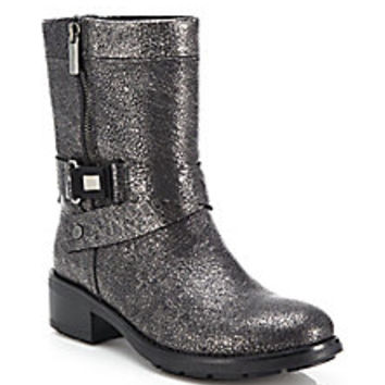 Aquatalia - Sami Metallic Tumbled Leather Moto Boots - Saks Fifth Avenue Mobile