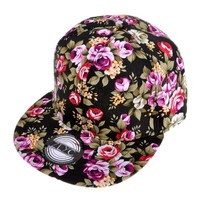 ZLYC Women Fashion Floral Print Adjustable Casual Snapback Baseball Cap Hat (Red)