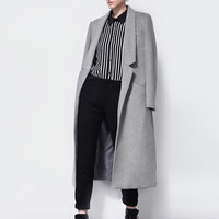 Light Gray Long Sleeve Notched Collar Long Coat