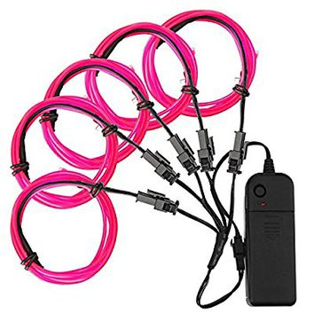 El Wire, Zitrades El Wire Kit 4 Modes Battery Operated For Party Indoor Outdoor Decoration, 5 by 1-Meter,Pink