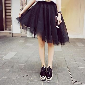 Black Plain Draped Grenadine Irregular Lace Sweet Polyester Tutu Skirt