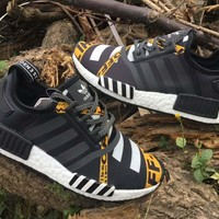 Best Online Sale OFF WHITE x Adidas Consortium NMD Black Yellow Boost Sport Running Shoes Classic Casual Shoes Sneakers