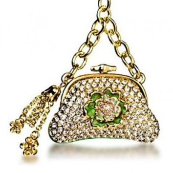 Gold Purse Crystal Keychain