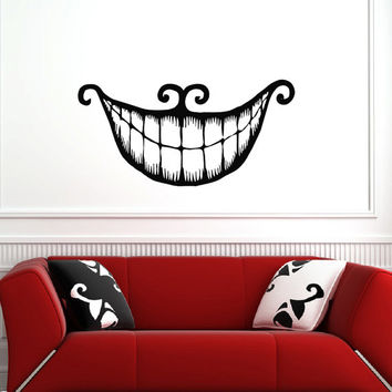 Alice In Wonderland Wall Decal Vinyl Sticker Cheshire Cat Smile Wall Decals Vinyl Stickers Wall Art Bedroom Dorm Nursery Home Decor Q078