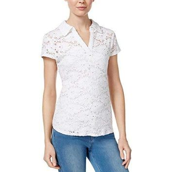 Maison Jules Womens Crochet V-Neck Casual Top