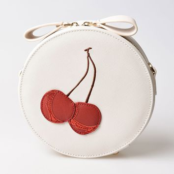 Unique Vintage Cream & Red Cherry Leatherette Round Shoulder Bag