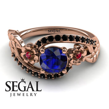 Unique Engagement Ring 14K Red Gold Flowers And Leafs Sapphire With Ruby And Black Diamond - Alyssa