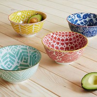 Folk Pad Printed Serving Bowls