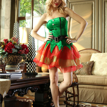 Green Strapless Tutu Dress Christmas Costume