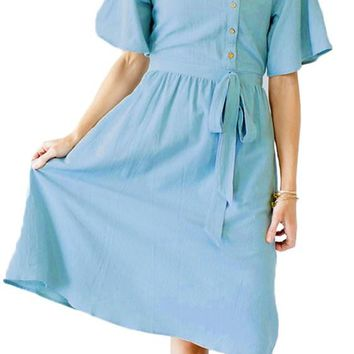 Light Blue Asymmetrical Button Up Front Midi Dress
