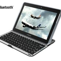 XKTTSUEERCRR Wireless Bluetooth Keyboard Aluminum Stand Case for Samsung Galaxy Note 10.1 N8000 N8010 N8013