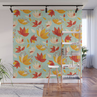 Whimsical Abstract Colorful Lily Flower Pattern Wall Mural by borianagiormova