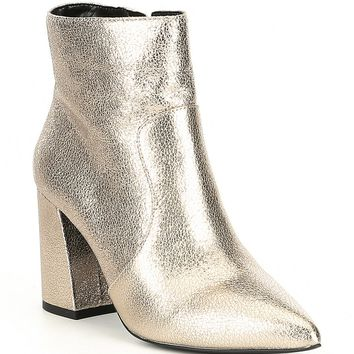 GB Vision-Ary Pointy Toe Metallic Leather Block Heel Booties | Dillard's