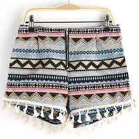 Geometric Print Fringed Decor Shorts