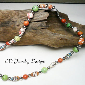 Mens Fashion Style Multi color Clay Aztec, Striped Jasper ,Yellow Turquoise Beads, Tribal Boho Hippi Healing Necklace