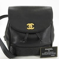 AUTH CHANEL CC BLACK CAVIARSKIN TRIPLE COCO BACKPACK EY354