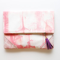 PEACHES/Hand painted cotton & Leather clutch -OOAK -  Ready to Ship