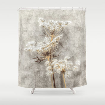 French Country Queen Anne's Lace Shower Curtain by Elliott's Location Photography