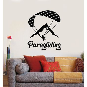 Vinyl Wall Decal Paraglider Paragliding Word Extreme Sports Decor Stickers Mural (g737)